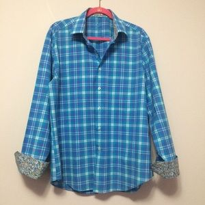 Bugatchi Uomo Button Front Shirt Blue Purple Plaid